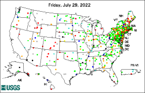 [Groundwater Watch Map: USGS Climate Response Network]