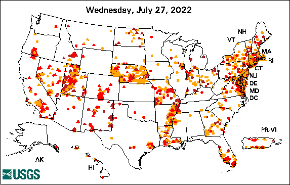 below normal groundwater-level map for Oklahoma